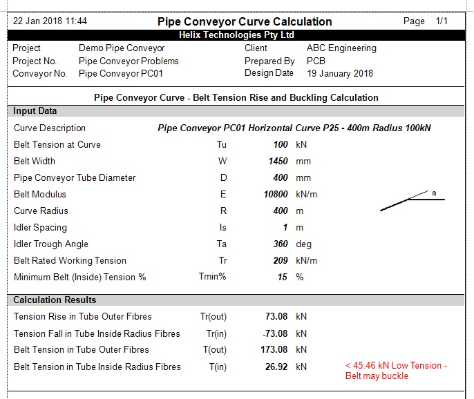Pipe Conveyor Curve Report - Low Tension